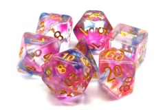 Old School RPG Dice Set: Nebula - Rose Red & Blue