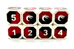 Old School Metal D6 Set: Dragon Forged - Platinum Black & Red