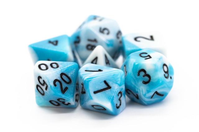 Old School RPG Dice Set: Vorpal - Baby Blue & White w/ Black