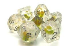 Old School RPG Dice Set: Infused - Iridescent Green Flower