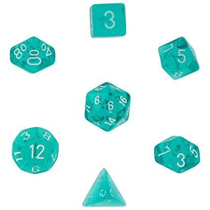 Translucent Teal w/ White Polyhedral 7-Die Set