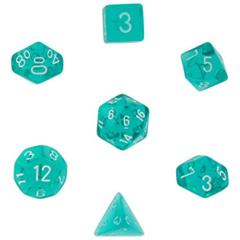 Translucent Teal w/ White Polyhedral 7-Die Set