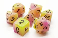 Old School 7 Piece DnD RPG Dice Set: Glow Dice - Yellow & Purple