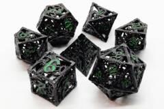 Old School 7 Piece DnD RPG Metal Dice Set: Hollow Dragon Dice - Black w/ Green