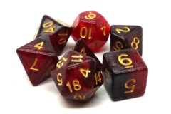Old School RPG Dice Set: Galaxy - Red & Black