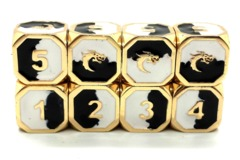 Old School Metal Dice D6 Set: Dragon Forged - Black & White w/ Gold