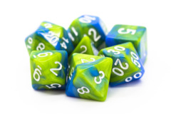 Old School RPG Dice Set: Vorpal - Light Blue & Green