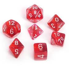 Translucent Red w/ White Polyhedral 7-Die Set