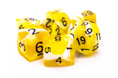 Old School RPG Dice Set: Vorpal - Yellow & White w/ Black