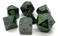 Old School RPG Metal Dice: Halfling Forged - Black Nickel w/ Green