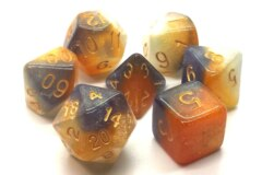 Old School RPG Dice Set: Galaxy - Black, Orange & Ivory