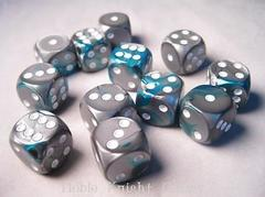 CHX26656 Steel-Teal w/white D6 Dice Set