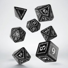 Black and White Runic 7 Dice Set