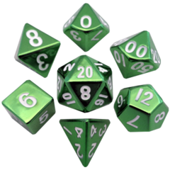 16mm Metal Polyhedral Dice Set: Green