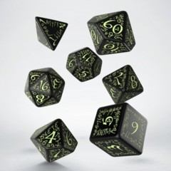 Black and Glow-In-The-Dark Elvish 7 Dice Set