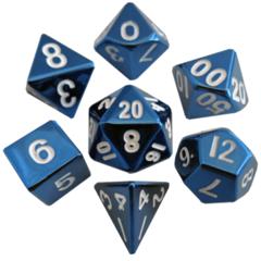 16mm Metal Polyhedral Dice Set: Blue