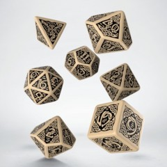 Beige and Black Celtic 7 Dice Set