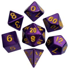 16mm Metal Polyhedral Dice Set: Purple