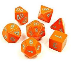 Heavy Orange/turquoise Set of 7 Dice - CHX30038