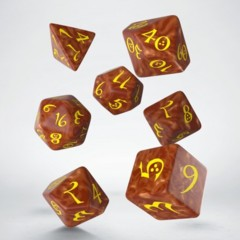 Caramel and Yellow Classic 7 Dice Set