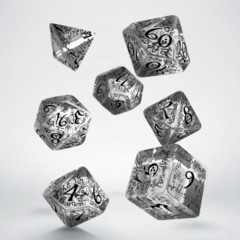 Translucent and Black Elvish 7 Dice Set
