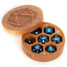 Wood Round Dice Chest - Cherry Wood