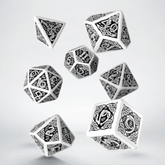 White and Black Celtic 7 Dice Set