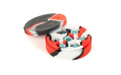Silicone Round Dice Case - Red/Black/White