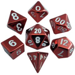 16mm Metal Polyhedral Dice Set: Red