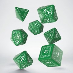 Green and White Elvish 7 Dice Set
