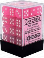 36pc 12mm D6 Dice - Frosted Pink w/White - CHX27864
