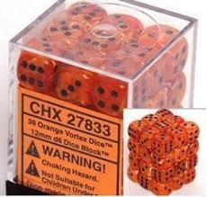 Chessex Orange w/black Vortex 36d6 12mm