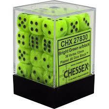 Chessex Bright Green w/black Vortex 36d6 12mm