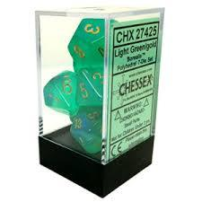 7pc Polyhedral Dice - Borealis Light Green w/Gold - CHX27425
