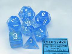 7pc Polyhedral Dice - Borealis Sky Blue w/White - CHX27426