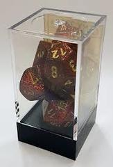 7pc Polyhedral Dice - Glitter Ruby Red / Gold - CHX27504