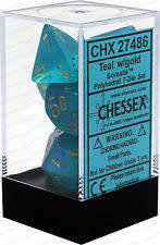 7pc Polyhedral Dice - Gemini Blue-Teal w/Gold - CHX26459
