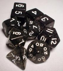 Koplow Glitter Polyhedral 10 Piece Set: Black