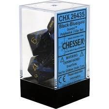 7pc Polyhedral Dice - Gemini Black-Blue w/Gold - CHX26435