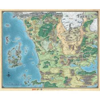 Map of Faerun Map 27 X 32 Vinyl color Map