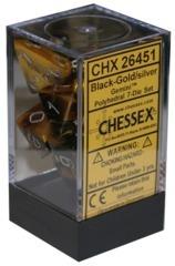 7pc Polyhedral Dice - Gemini Black-Gold w/Silver - CHX26451