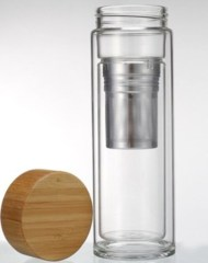 Travel Mug, double glass wall with Bamboo Lid