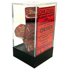 6pc Polyhedral Dice - Vortex Burgundy w/Gold - CHX27434
