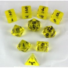 Koplow Transparent Yellow 10pc polyhedral