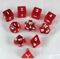 Koplow Transparent Red 10pc polyhedral