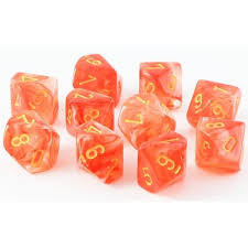 Ghostly Glow Orange/yellow Set of Ten D10 CHX27323