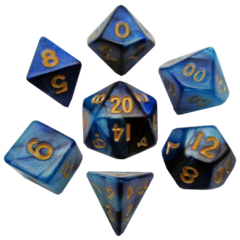 Mini Polyhedral Set Blue/ Light Blue w/ Gold