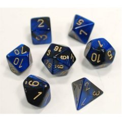 Gemini Black-Blue / Gold 7 Dice Set - CHX26435