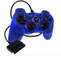 (Old Skool) PS2 WIRED DOUBLE-SHOCK 2 CONTROLLER (BLUE)