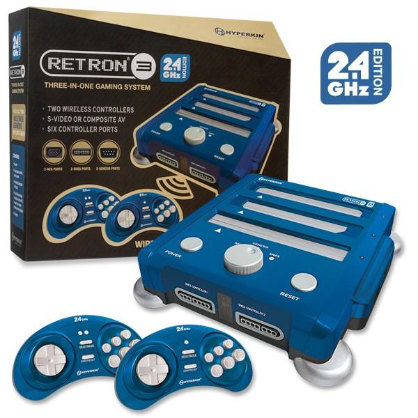 (Hyperkin) RetroN 3 Gaming Console 2.4 GHz Edition for SNES/ Genesis/ NES (Bravo Blue)
